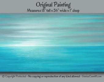 Beach decor, Large wall art, Sunset painting, Teal home decor, Gray & teal blue, Coastal decor, Sunrise, Seascape, Aqua, Office, Bedroom,Spa