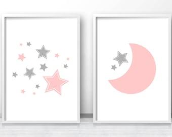 Moon And Stars Nursery Prints, Printable Nursery Art, Pink Gray Nursery Decor, Baby Girl Prints, Baby Wall Art, Set Of Prints For Nursery