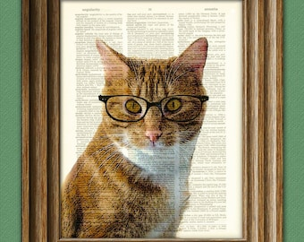 Professor Paws, Ph.D. CAT with Horn-Rimmed Glasses illustration beautifully upcycled dictionary page book art print