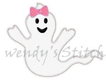 Halloween ghost girl machine embroidery digital applique