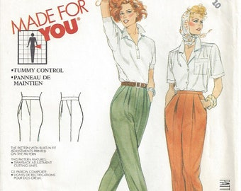 1980s Pleated Pants Tummy Control Panel High Waist Front or Back Zipper Adjustment for Sway Back McCalls 3181 Misses Size 10 Waist 25 Hip 34