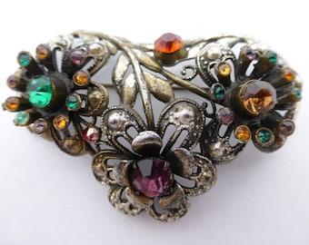Victorian Sash Pin Brooch silver tone rhinestones AJ05