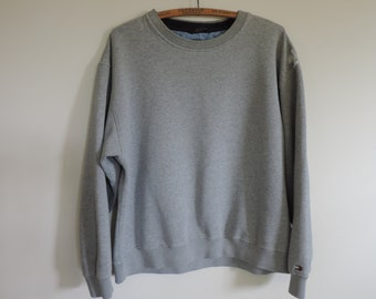 TOMMY HILFIGER 90's Sweat Shirt Gray Distressed Over Sized Ladies Men's Unisex Shirt