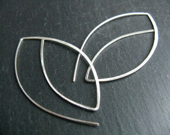 Arc geometric earrings, neolithic motif minimalist silver earrings, graphic edgy earrings
