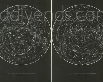 1950's SET OF 2 Original Stars & Constellations Maps Hemispheres Vintage Astronomy Astrology Prints
