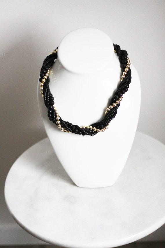 1980s black beaded necklace // 1980s multi strand necklace // vintage jewlery