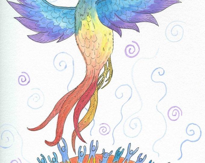Phoenix Rising blank greeting card