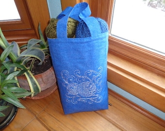 Embroidered Cotton Knitting Project Storage Bag