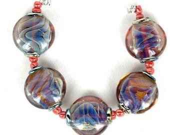Lampwork glass beads Waves Lampwork beads (6) SRA, jewelry supplies, handmade lampwork, beads