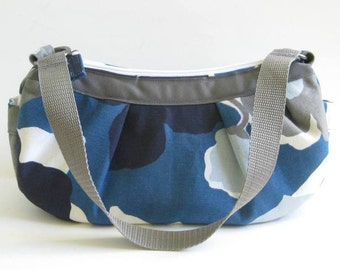 Small Pleated Shoulder Bag, Small Purse, Everyday Bag, Shoulder Purse in Blue, Gray and White Floral