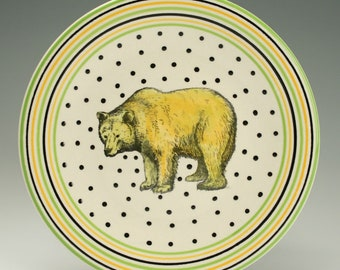 "Bear Plate 8"", Ceramic Lunch, Salad, Dessert Plate, Pottery Animal Decor, Woodland Bear Stripes and Dots Dinnerware"