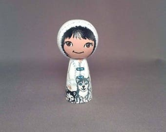 Winter Girl with pups Wooden Handpainted Kokeshi Doll