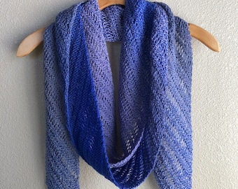 Handmade Knit by Hand Lace Drop Stitch Lightweight Scarf Vivid Bright Blue Extra Long Scarf Skinny Scarf Sapphire Blue Scarf
