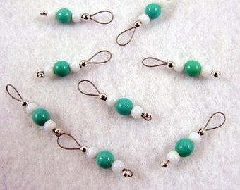 Sock Size Turquoise Czech Glass Stitch Markers - US 5 - Item No. 1109