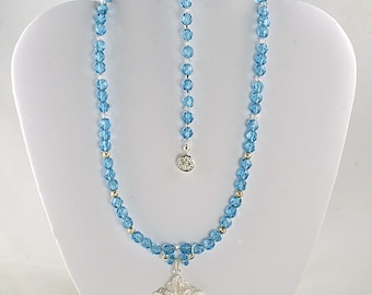 On Sale Handmade Sapphire Necklace with Silver Flower & Matching Bracelet