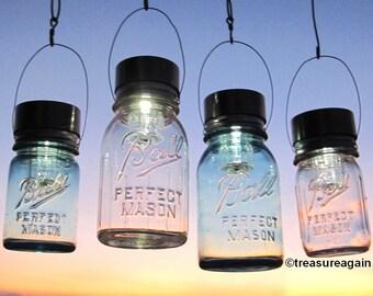 Mason Jar Lighting Hanging Mason Jar Solar Light LIDS 4 Outdoor Gardening Upcycled Lights for Canning Fruit Jars, Lids Only No Jars