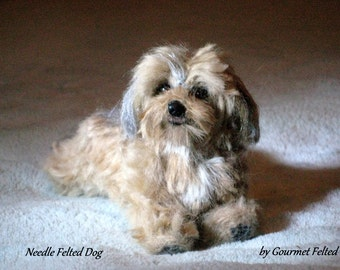Felted Miniature of your Pet  / Custom made Pet Portrait / Cute / poseable / example Daisy Dog