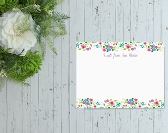 Personalized Flat Note Cards, Thank You Cards, Stationery Set, Stationary Set, Flower Notecards, Flower Stationery, Custom Cards