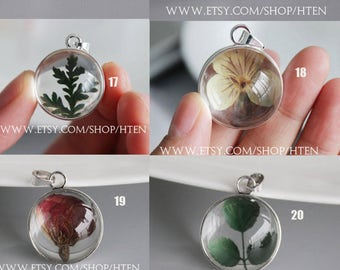 2pcs handmade Glass dried flowers pendant Charms -  DIY 20mm 25mm pendant real flower jewelry