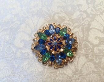 Green Blue Crystal Rhinestone Gold tone Pin Brooch