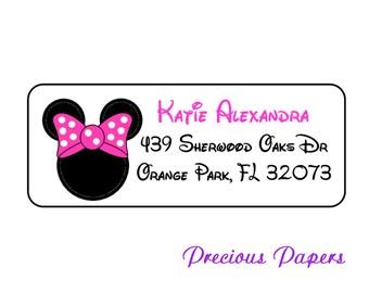 30 Personalized Minnie Mouse return address lables Minnie mouse Labels Minnie Mouse Address Label