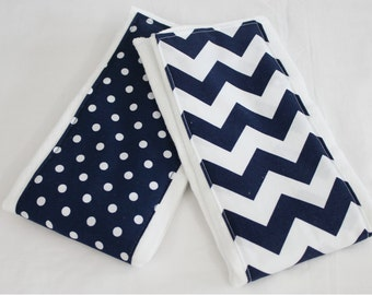 Navy Blue Chevron and Polka Dot Burp Cloths - Set of 2