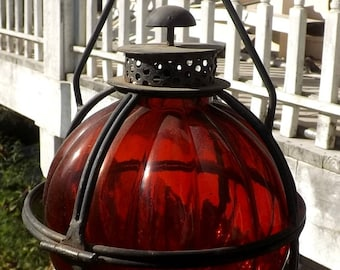 Vintage Large Red Globe Glass Lantern