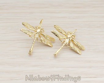 ERG247-MG // Matte Gold Plated Dragonfly Earwire, 2 Pc