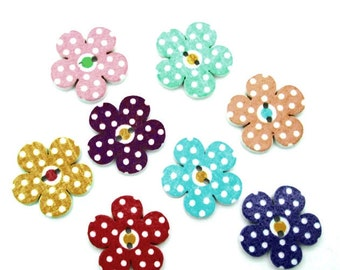 10 flower shaped wooden button