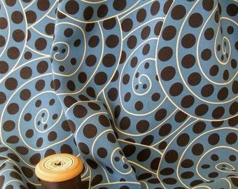 Ammonite Blue Silk Crepe de Chine