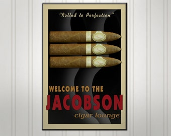 """Large Personalized Cigar Sign, Wood Man Cave Bar Sign, Personalized Sign, Personalized Pub Sign, 18"""" x 24"""""""