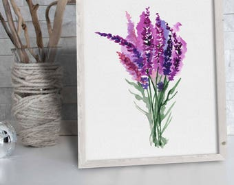 Lavender Art Watercolor Herbs Plant Wall Art Print Minimalist Botanical Drawing Watercolor Floral Idea Flower Wall Art