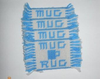 Mug Rug, 3 piece, coasters, plastic canvas, blue, white