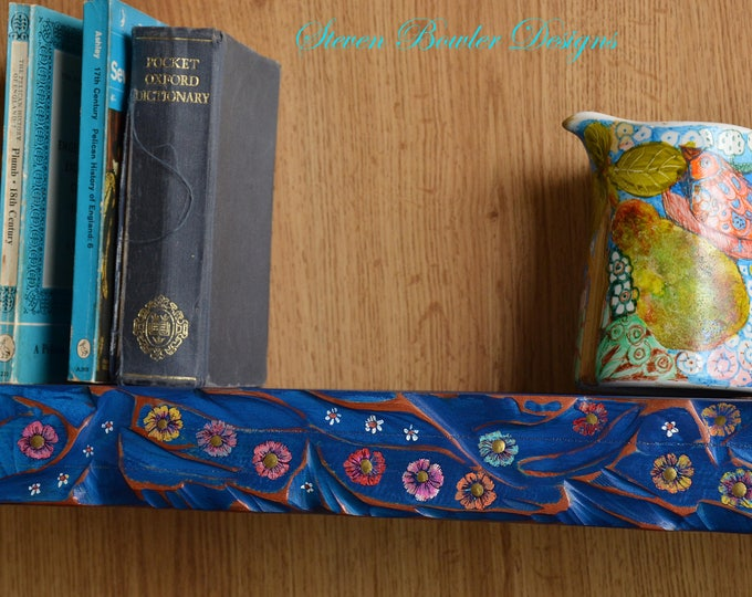 Bespoke Rustic Floating Solid Wood Shelf Indigo Blue with Copper Edging & Hand Painted Country Cottage Flower Design Metal Fixings Supplied