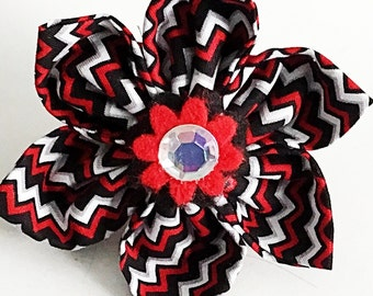Red and Black Chevron Collar Flower for Girl Dog & Cat