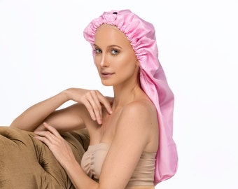 Sassy Hair Cap: Satin Sleep Cap (Black or Pink)