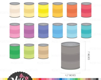30 Colors Tin Can  Clipart  - Instant Download