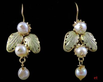 Fine Pair Victorian Late 1800s 14K Gold & Natural Pearl Leaf Form Earrings