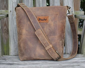 Leather Crossbody Bag, Brown Shoulder Bag, Rugged Distressed Boho Handbag, The Kaary Bag