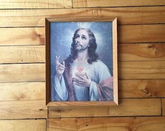 vintage framed Jesus picture