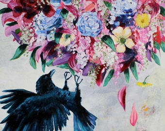 Large Crow Painting, Flowers, Bouquet, Acrylic on Panel, 18 x 24 inches