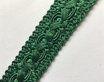Green cotton/silk passementerie trim