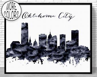 Oklahoma City Print Oklahoma City Skyline Oklahoma City Oklahoma City Skyline Office Wall Art Office Poster ArtPrintZone