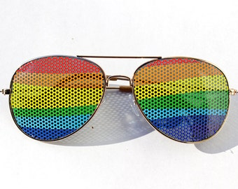 Wavy Rainbow Colorful Graphic Aviator Party Sunglasses