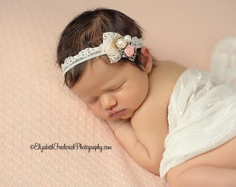 Breckyn - Pink Cream White Gold - OR Aqua Purple - Rosette Flower Pearl Lace Headband - Newborn Girl Toddler Infant Adult