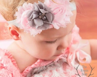 Baby Pink & Gray Headband - Newborn Infant Baby Toddler Girls Adult Flower Girl Wedding Grey Silver