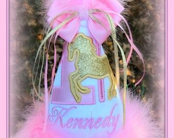 Carousel Birthday Hat,  Pink and Gold Glitter Birthday, First Birthday Gift,  1st Birthday Hat, First Birthday Hat,  by GINGHAM BUNNY