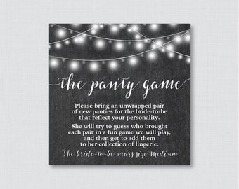 Chalkboard Panty Game - Printable Chalkboard Lingerie Shower Panty Game AND Sign - Lingerie Game, Bachelorette Party Game 0005