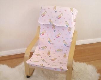 Chair cover slip mermaid kids ikea poang/kids decor/girls bedroom/modern nursery/pink under the sea chair cover for birthday christmas gift
