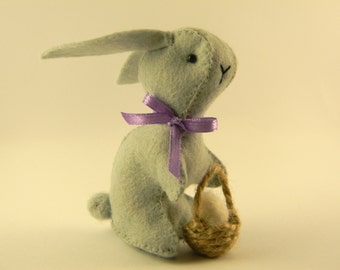 Easter bunny with basket, Bunny felt stuff  , Easter decor, miniature bunny, stuffed easter bunny,  sweet soft art plushie